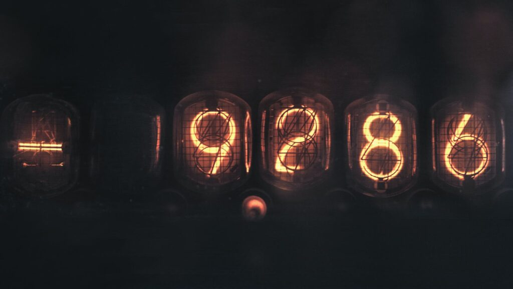 tubes with display number glowing in darkness